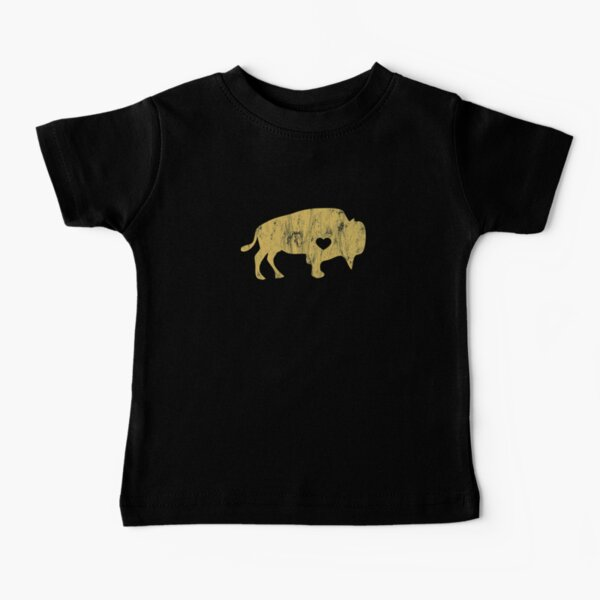 Gold Raging Buffalo Buffaloes Distressed I Love Buffaloes Baby T-Shirt