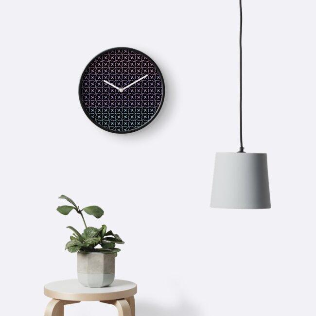 Curvy Grid Pattern Pastel on Black by craftymummy