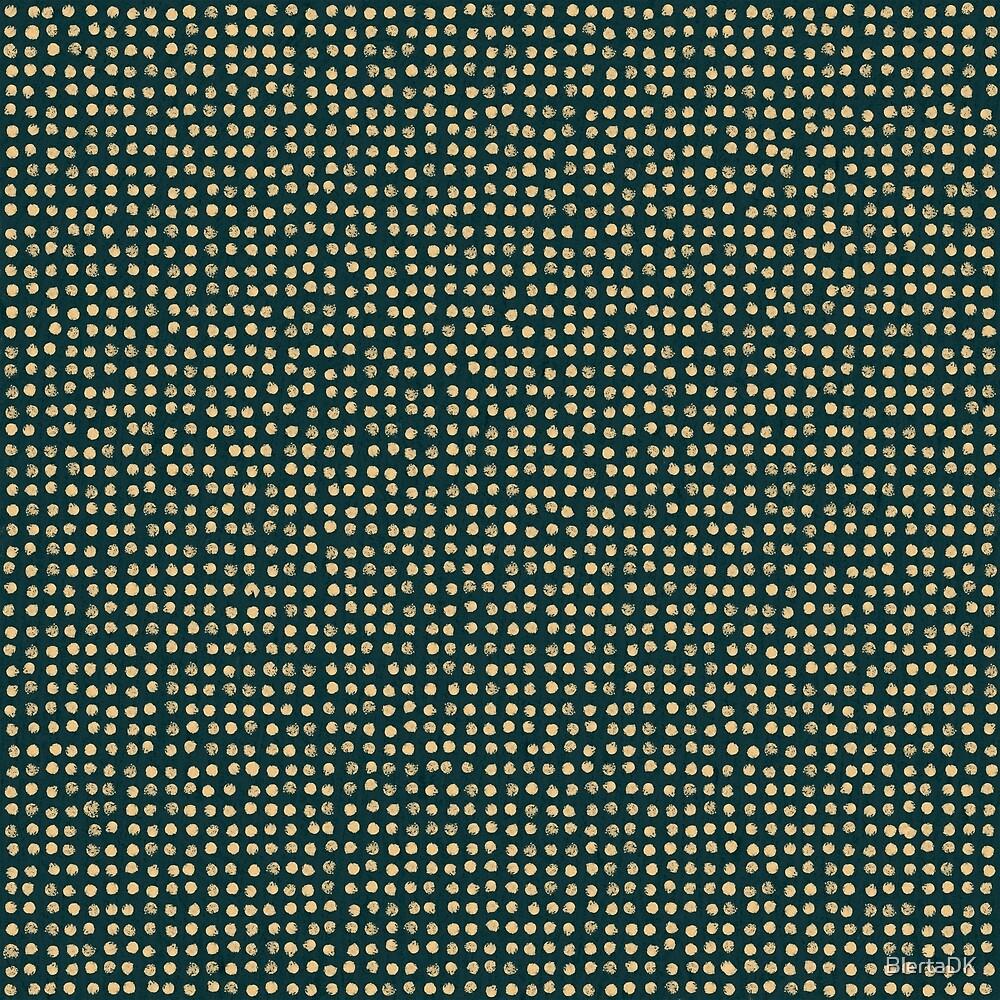 Gold dots on dark green - soft pastel by BlertaDK