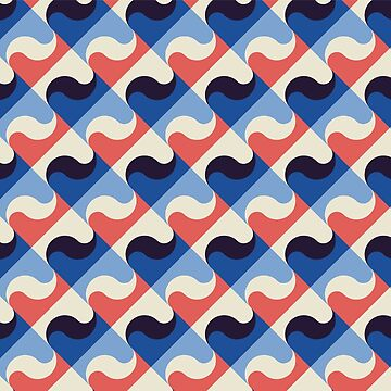 Retro Pattern Blue Red Waves by junkydotcom