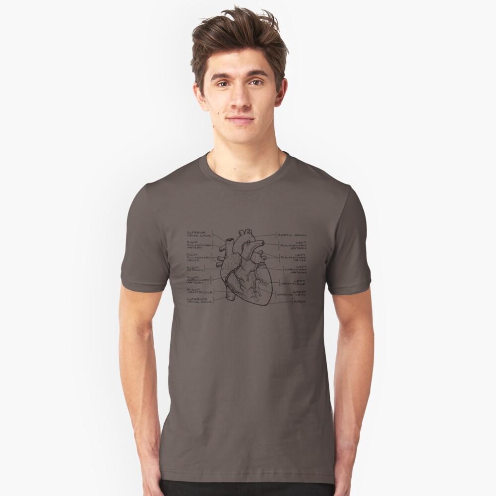 Anatomisches Herzdiagramm (schwarzer Text) Slim Fit T-Shirt