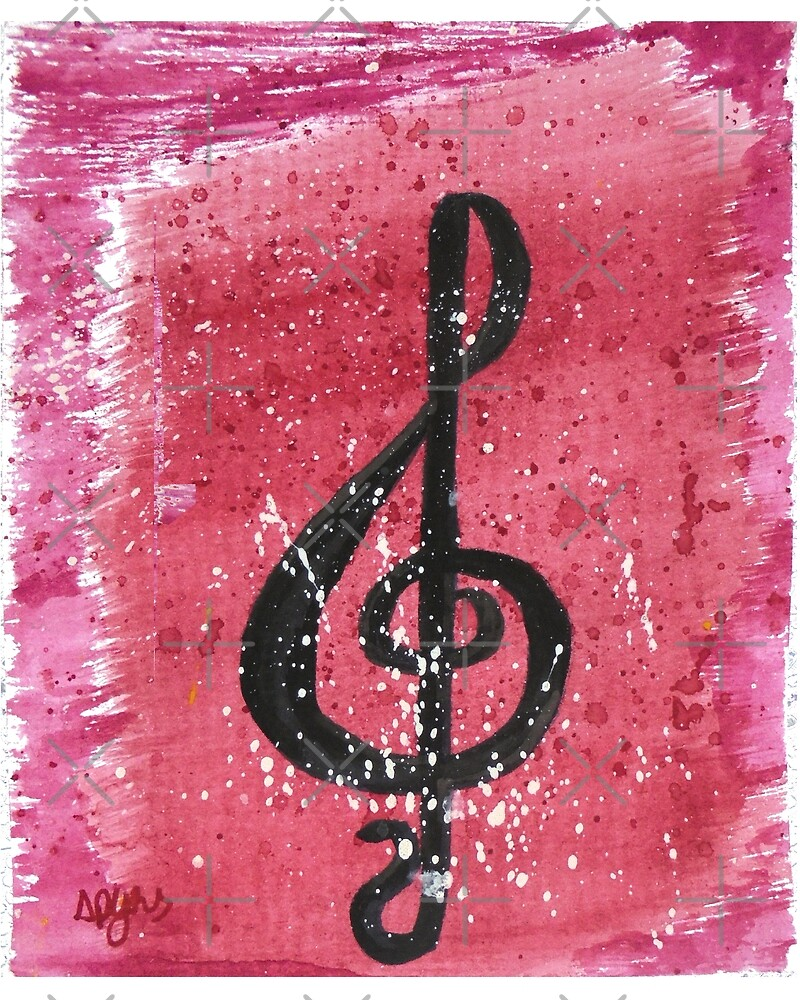 Red treble clef by spyns