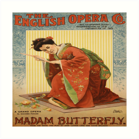Madam Butterfly, English Opera Company Vintage Poster by bebebelle