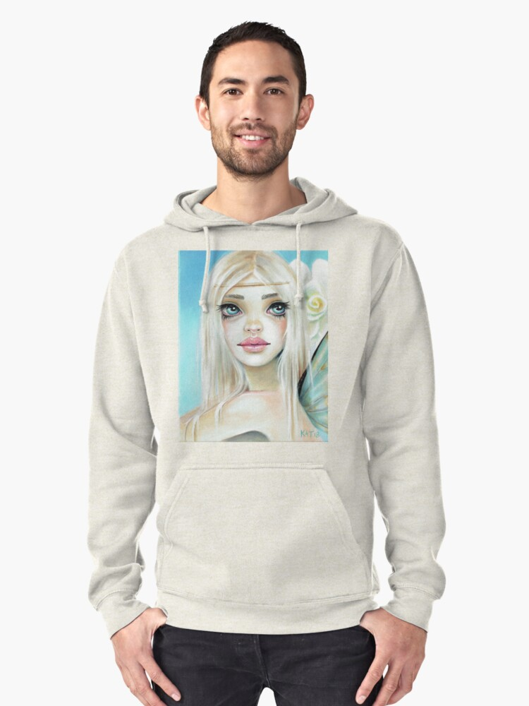 Jasmine Fairy Sky Blue background Pullover Hoodie Front