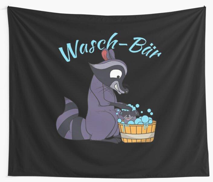 Raccoon Laundry Animals Clean Funny Cartoon by MyShirt24