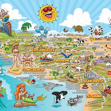 Cartoon Map of Southern California by Lines
