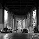 Under The Fremont Bridge Downtown by artistjanebush