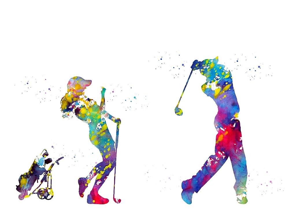 Golfer couple by erzebetth