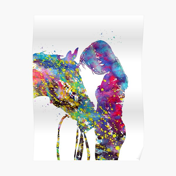 Girl with horse Poster