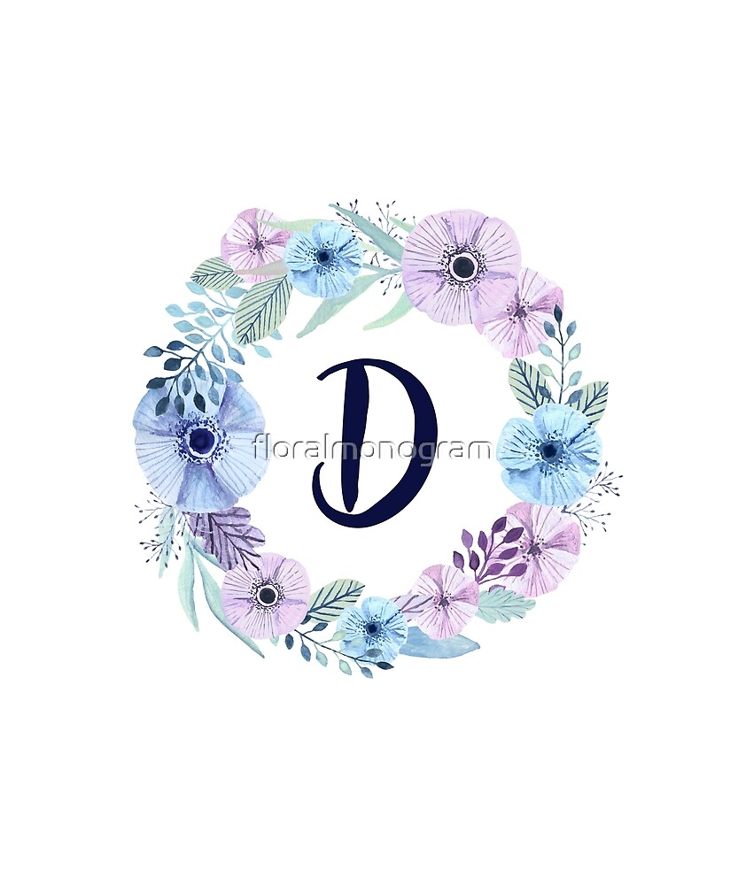Monogram D Icy Winter Blossoms by floralmonogram