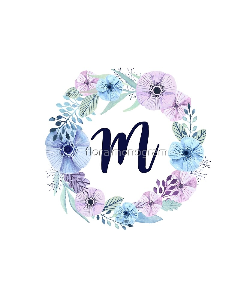 Monogram M Icy Winter Blossoms by floralmonogram