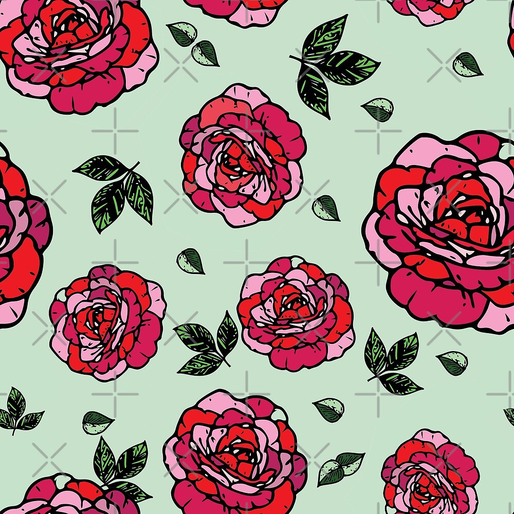 Roses on mint by FK-UK