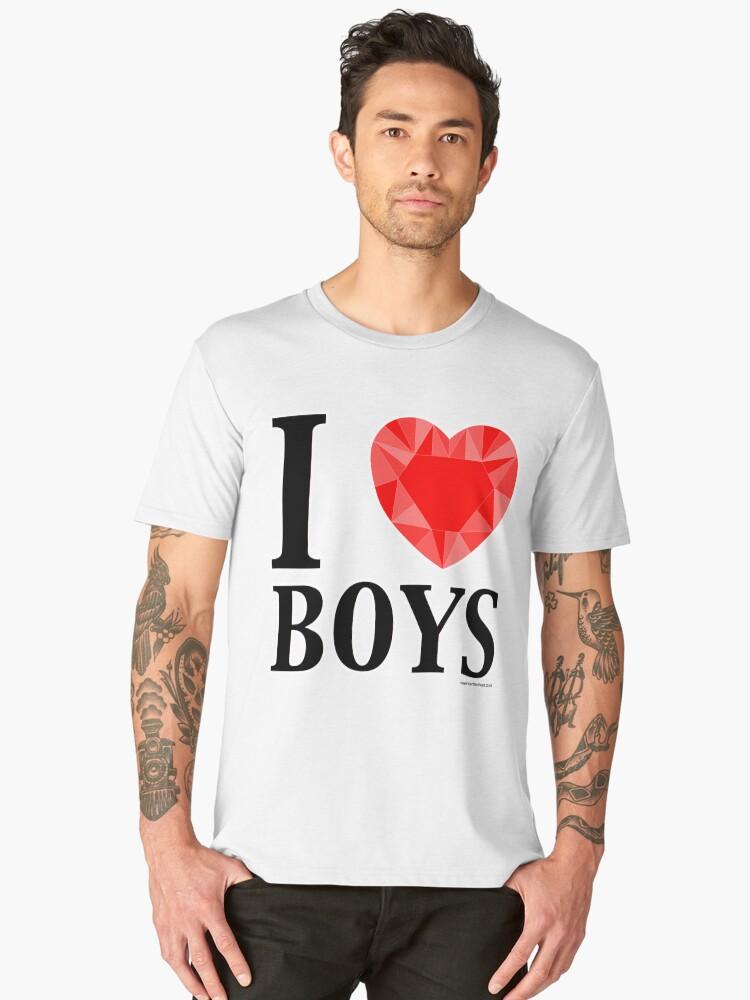 I Love Boys Men's Premium T-Shirt Front