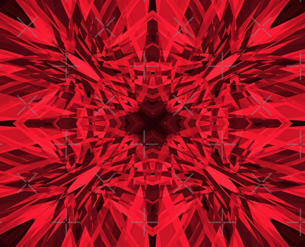 Red kaleidoscope star pattern by steveball