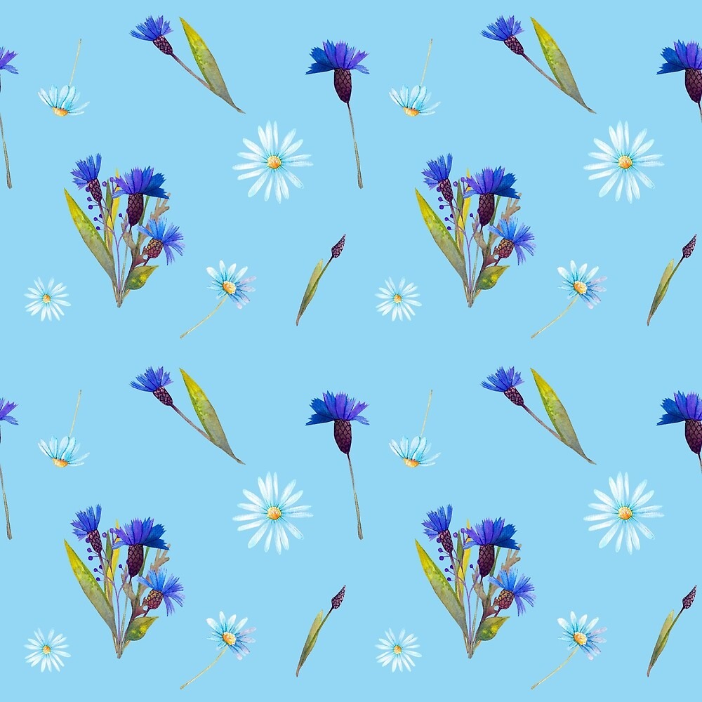 Blueberries wildflowers pattern by jeannadano