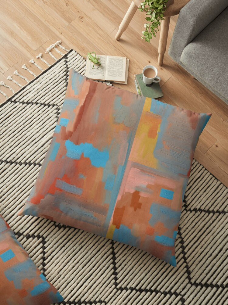 Southwestern Abstract Painting in Colors of Aqua, Gold, and Orange by Jessielee72