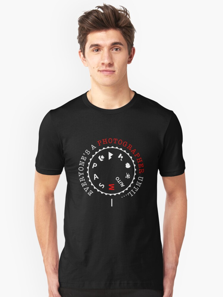Camera Manual Mode Funny Photographer Gift Unisex T-Shirt Front