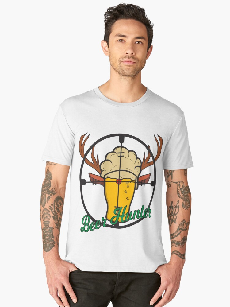 Beer Beer Glass Crosshairs Hunters Chasing Party Celebrations Men's Premium T-Shirt Front