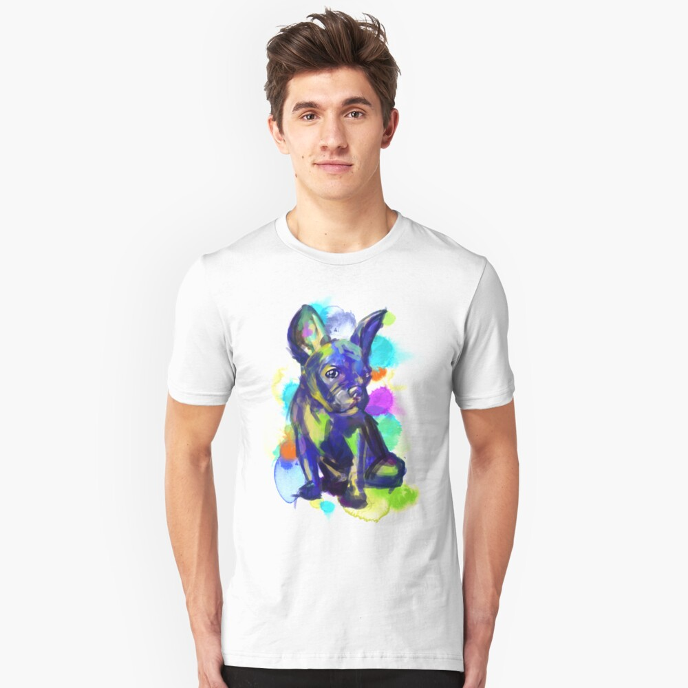 Colorful French Bulldog Unisex T-Shirt Front