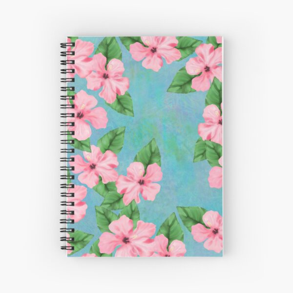 Tropical Hibiscus Print Pink and Blue Spiral Notebook
