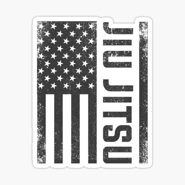 Patriotic MMA Grappling Bjj Brazilian Jiu Jitsu American Flag Sticker