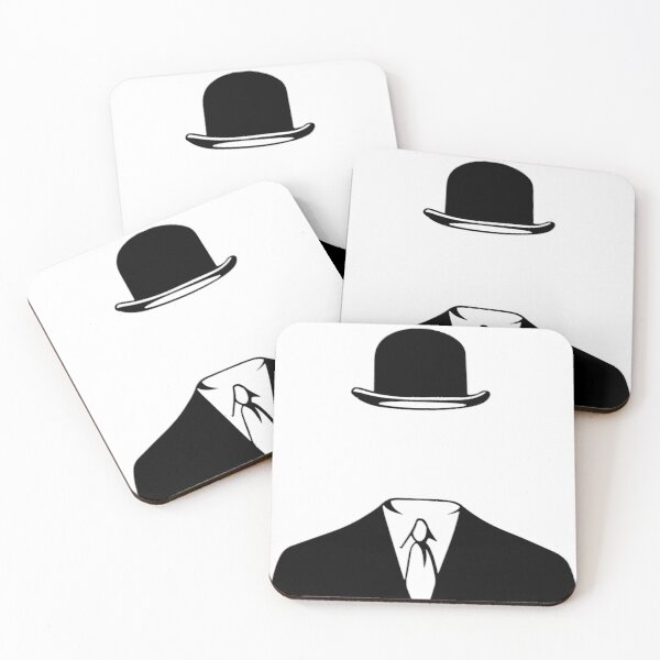 Man In a Bowler Hat by Rene Magritte Inspired Design Coasters (Set of 4)
