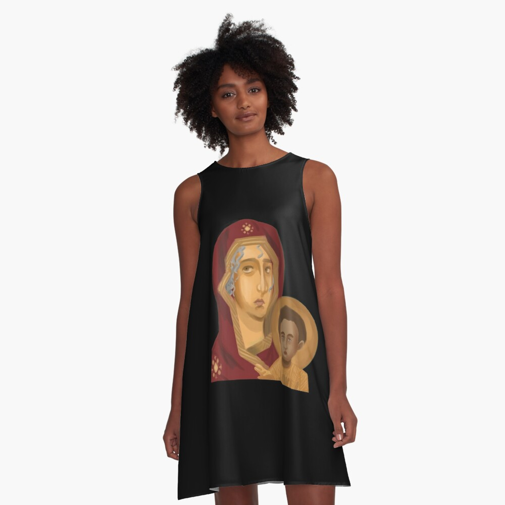 Baby Jesus and Mother Mary - Christian Icon Art A-Line Dress
