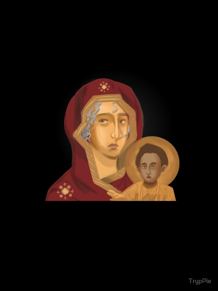 Baby Jesus and Mother Mary - Christian Icon Art by TrypPie