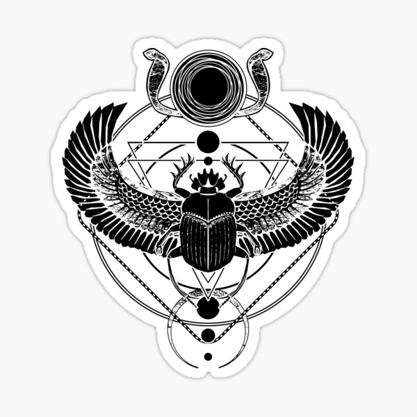 Winged scarab and the Sun disc Sticker