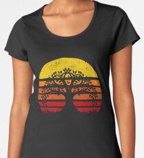 Baum des Lebens Yoga Retro Sonnenuntergang Sun Silhuette Baum des Lebens Yggdrasil Spirituelle Buddhismus Meditation Zen Spiritualität Premium Rundhals-Shirt