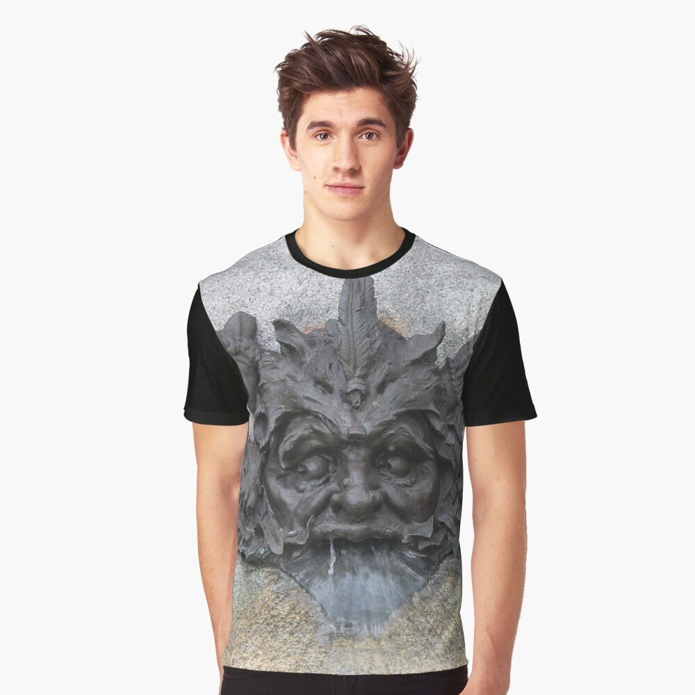 #sculpture #stone #statue #architecture #ancient #face #old #head #art #fountain #lion #wall #history #gargoyle #detail #building #marble #monument #antique #relief #decoration #religion #carving Graphic T-Shirt Front