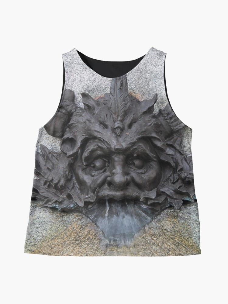 Alternate view of #sculpture #stone #statue #architecture #ancient #face #old #head #art #fountain #lion #wall #history #gargoyle #detail #building #marble #monument #antique #relief #decoration #religion #carving Sleeveless Top