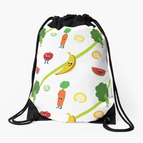 Happy cute fruits and vegetables with big eyes and boots Drawstring Bag