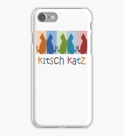 Kitsch Cats Silhouette Cat Collage On Pastel Background iPhone Case/Skin