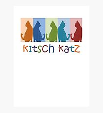 Kitsch Cats Silhouette Cat Collage On Pastel Background Photographic Print