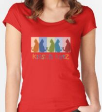 Kitsch Cats Silhouette Cat Collage On Pastel Background Women's Fitted Scoop T-Shirt