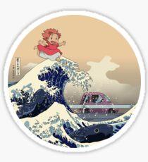 PONYO ON THE JAPANESE WAVE - HOKUSAI KAIJU Sticker