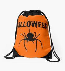 HALLOWEEN WITH SPIDER (BLACK) Drawstring Bag