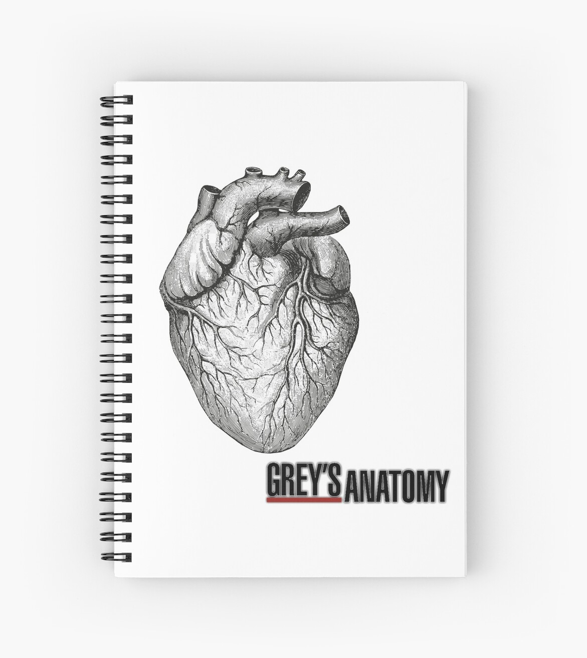 diagram of grey\'s anatomy grey s anatomy heart  spiral notebook by martinabaiardi1 redbubble  grey s anatomy heart  spiral notebook