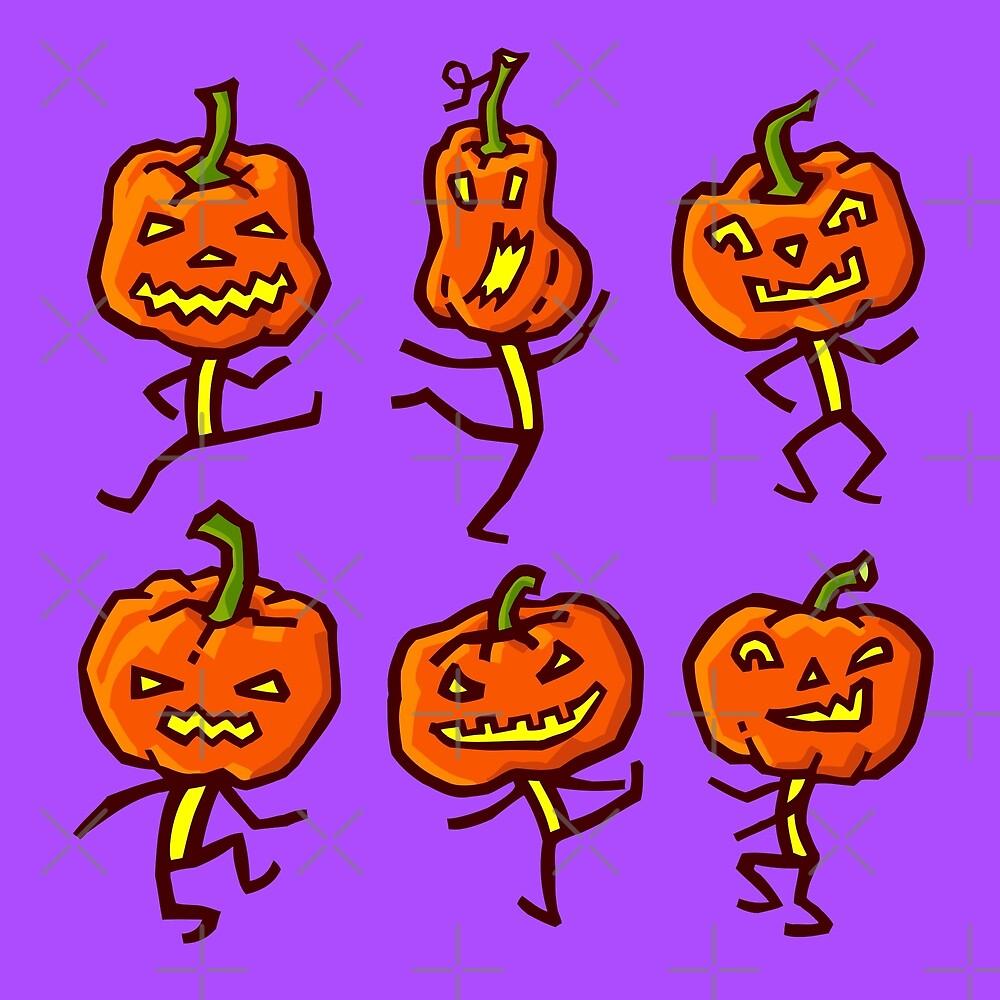 Six dancing pumpkins -2 by Irina Ivanova