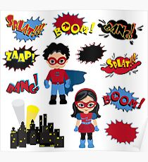 Colorful cartoon text captions. Explosions and noises. Super Boy and Super Girl. Poster
