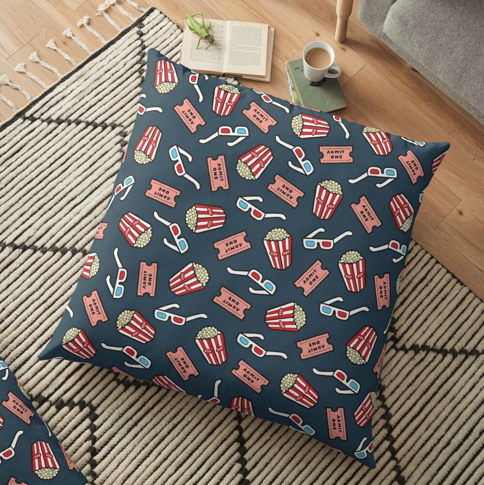Movie Pattern in Dark Blue Floor Pillow