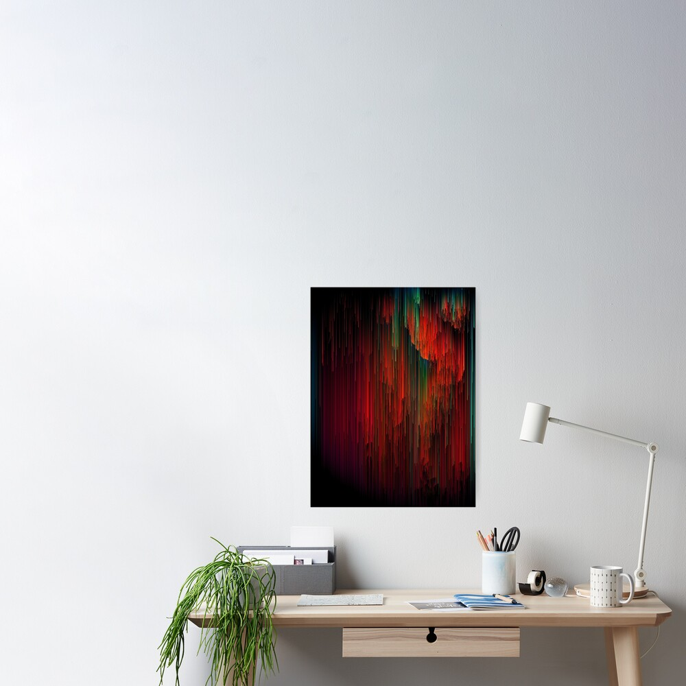Volcanic Glitches - Abstract Pixel Art Poster