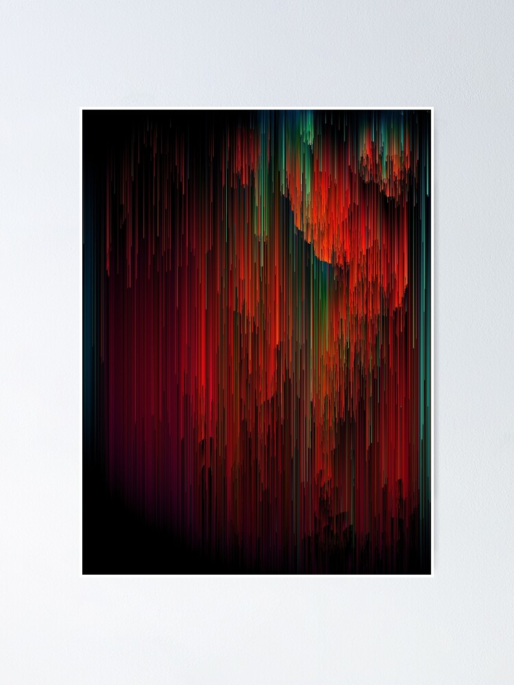 Alternate view of Volcanic Glitches - Abstract Pixel Art Poster