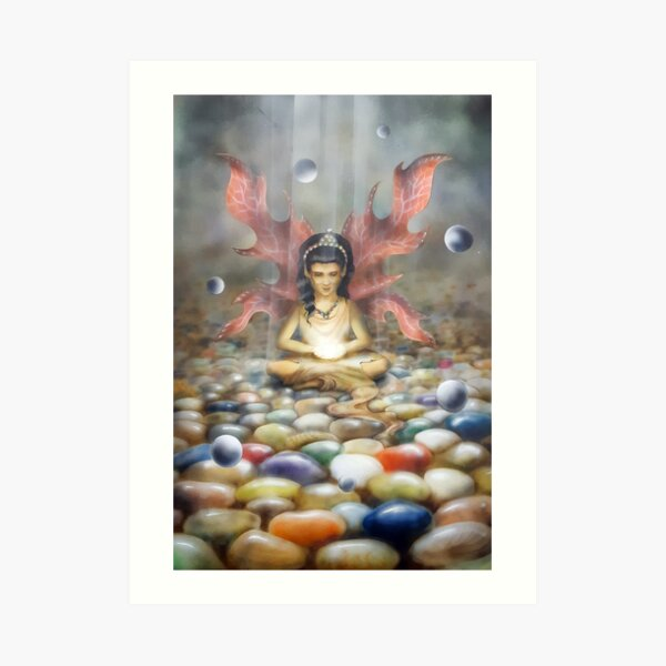 Crystal Faery in her cave Art Print