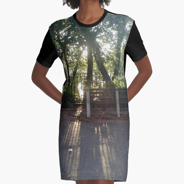 #Sunlight #road #tree #nature #park #trees #forest #green #landscape #path #summer #woods #way #leaves #alley #lane #grass #autumn #foliage #spring #leaf #wood #outdoor #walk #outdoors #countryside Graphic T-Shirt Dress