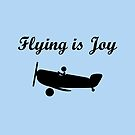 Flying is Joy Airplane with Pilot Monotone by TinyStarAmerica