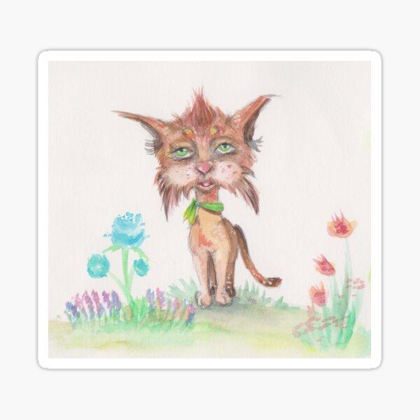Kitty Green Scarf Sticker
