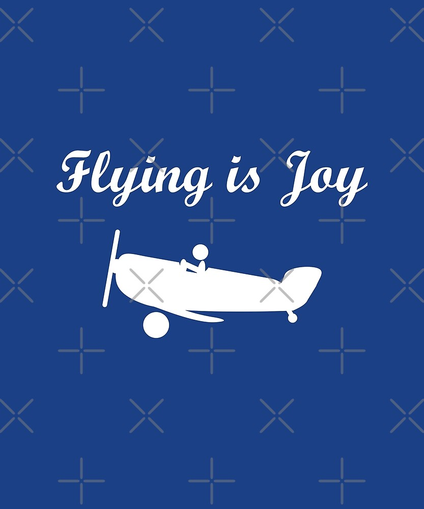 Flying is Joy Airplane with Pilot Dark Monotone by TinyStarAmerica