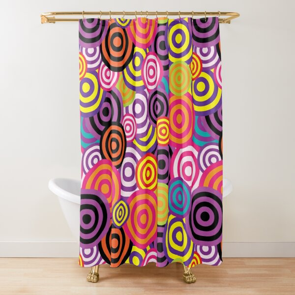 NWT FLORAL FLOWER POWER SIXTIES 60/'S FABRIC SHOWER CURTAIN PURPLE PINK ORANGE